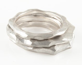 Sterling Silver Carved Ring Stackable Ring Satin Matte Nature Ring Mountain Ring Stack Ring Textured Ring - High Shonan