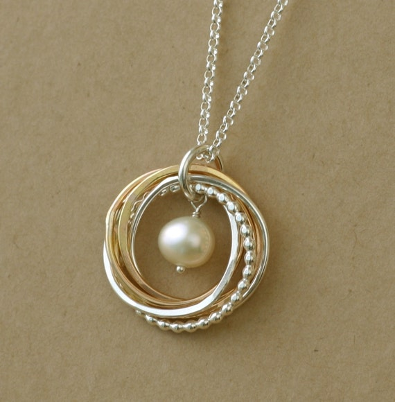 Pearl Necklace 50th Birthday Gift Five Linked By