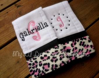 Personalized Burp cloth set- hot pink and black leopard print minky- baby burp cloth prefold diaper