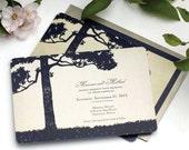 Rustic Wedding Invitation, Tree Wedding Invitation, Lake Wedding Invitation, Vintage Style Lake, Sea, Ocean Tree Wedding Invitation