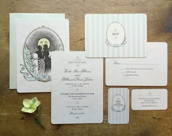 Vintage Style Wedding Invitations, Victorian Wedding Invitations, Moon Invitation, Vintage Silhouette, Romantic Wedding, Moon, Silhouette