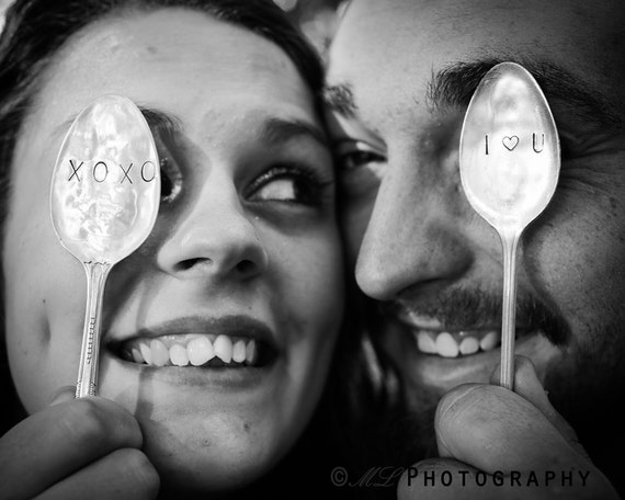 Hand Stamped, XOXO or I Heart U, Silver Spoon, Wedding or Engagement, Photo Prop, Bride & Groom, Love, Spoon Marker, Vintage Silverware