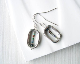 Modern Silver Drop Earrings - Metallic, Contemporary Jewelry, Titanium, Grey, Neutral, Nickel Free, Sterling, Dangle, Seed Beads, Clip On
