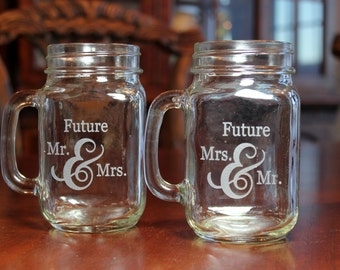 2 Mason Jars Mugs,Future Mr and Mrs  Mason Jar Mugs, Engraved Mason Jar Mugs, Engaged Couple Gift, Shower Gift, Engaged Mason Jar Mugs