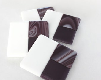 FUSED GLASS COASTERS -Purple Drink Coasters, Purple Coaster Set, Under 25, Bridal Shower Wedding Gift, Gift for Her, Purple Glass Home Decor