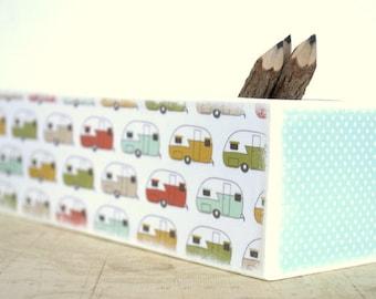 Pencil Box Vintage Camper Pencil Case, Wooden Pencil Case, Sliding Door Pencil Box, School Supply, Kids art supply box, Camping, pine box