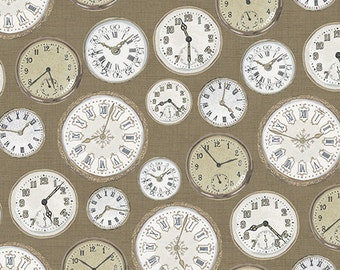 Vintage From Andover - Antique Watch faces, Clocks, Timepiece in Cream and Taupe on Robin's Egg Blue