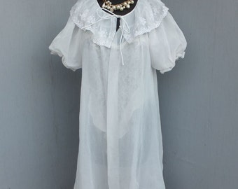 Vintage Robe, Sheer White Chiffon Robe, RADCLIFFE, Sexy, Small, Wedding Lingerie