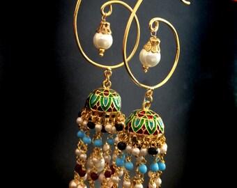 Jhumkas,Long Chandelier Earrings,Kundan,Indian Jewellery,Pearl earrings,Dome style,wedding style Exclusive by Taneesi