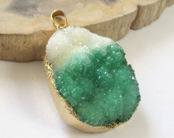 Bio Color Druzy - White Green Pendant - Multicolored Crystal Agate - Gold Dipped Teardrop -  Rough Surface - Semiprecious - Jewelry diy