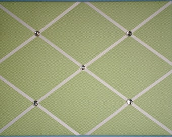 "Sage green and white polka dot french memo board, 16"" x 20"""