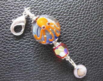 Octopus Zipper Pull, Purse Charm
