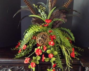Silk Floral Arrangement, Feather Table Arrangement, Fern Floral Arrangement, Floral Arrangement, Red Flower Arrangement
