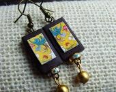 SPRINGTIME Yellow Flower Dangle Artisan Earrings