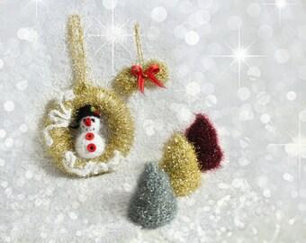 Crochet Christmas Ornaments, Christmas Three Wreath and Snowman, Crochet Christmas Bells, Sparkle Christmas Tree Decoration