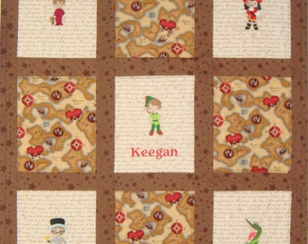 Embroidered Peter Pan Baby Quilt -  choose 5 characters and fabrics - Payment Plan Accepted - other Crib Bedding available