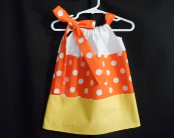Pillowcase dress sunny orange with white dots, yellow and white girls infant through 6 years