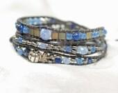 Blue and Silver Triple Leather Beaded Wrap Bracelet With Charm, Boho Beaded Leather Wrap Bracelet, Yoga Wrap Bracelet