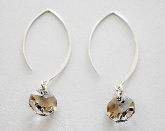 White Silver Shade Octagon Swarovski Crystal Earrings, White Crystal Earrings, designbybehin, Fashion Earrings,