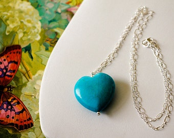 Turquoise Heart Gemstone Pendant with Sterling Silver Chain, Valentines Jewelry Gift, Fashion Necklace, Turquoise jewelry