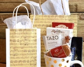 Bulk Large Music Gift Bag with Handles, vintage style