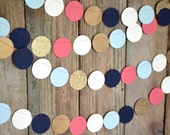 Navy, Mint, Gold, Coral and Cream Confetti Large Circles Garland