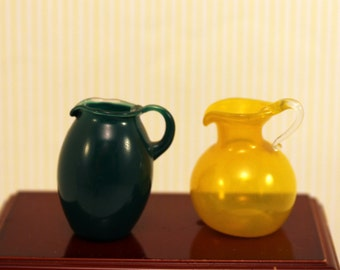 2 Miniature Pitchers Scale Dollhouse Dishes