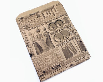 20 Vintage Newspaper Ad Kraft brown paper bags - Nostalgic design 8 1/2 X 11 1/2 - gift wrapping, merchandise bags, packaging