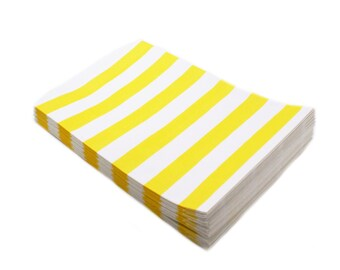 20 YELLOW party favor bags - gift bags with yellow stripes - candy buffet, wedding favor bags, party favor bags, gift bags 5 x 7.5