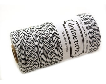 Bakers Twine 240 yard spool - BLACK & White Bakers Twine String for crafting, gift wrapping, packaging, invitations