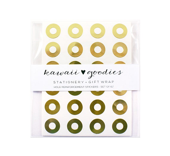 60 Metallic Gold Reinforcement Stickers | gold reinforcement rings for hang tags or parcel tags | gift wrapping, wedding, planner
