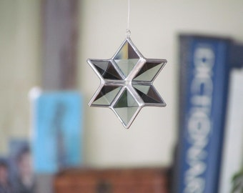Star Ornament Gray Beveled Stained Glass 3D Star Suncatcher Smoky Grey Six Point Star Gift for Him Made in Canada