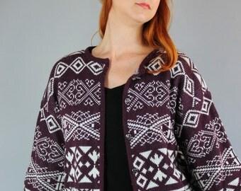 Women's Sweater. Eggplant Purple White Nordic Fair Isle Design Cardigan Sweater. FREE SHIPPING