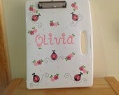 Personalized clipboard storage case- lady bugs, Flowers- teachers, nurses,doctors  birthdays, school projects,