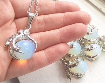 Dragon Claw Necklace  / Pick Your Length / Opal Dragon Claw Pendant / Silver