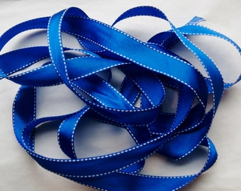 5 Yards ROYAL BLUE Saddle Stitch Grosgrain Ribbon Trim 3/4 inch ,  Hair bows, Scrap booking, Cards (SS 18)