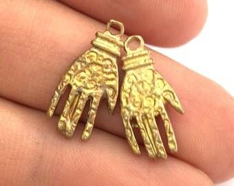 2 Raw Brass Hand Charms 20x10 mm G3401