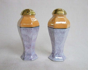 Vintage Japanese Porcelain Lusterware Salt and Pepper Shakers, Apricot and Lavender Two Tone Luster Glazed Ceramic Salt and Pepper Shakers