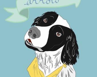 Pet Portrait Print - Custom Pet Portrait - Perfect Gift for Pet Lovers - Dogs, Puppies, Cats, Kittens, Birds - Custom Portrait Print