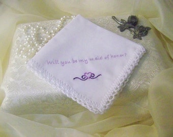 Maid of Honor Handkerchief, Hanky, Hankie, Hand  Crochet, Lace, Bridal Party, Embroidered, Personalized, Monogrammed, Purple, Lavender