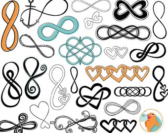 Infinity Symbol Clip Art, Infinite Love Silhouette, Png + Brush, Anchor Digital Stamps, Nautical DIY Wedding Invitation