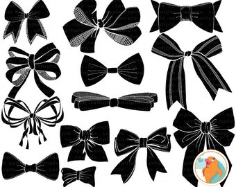 Bows and Ribbons Silhouette ClipArt, Digital Stamps, Bow Tie, Instant Download ClipArt, Bow Digital Graphics, Bow Clip Art, Ribbon ClipArt