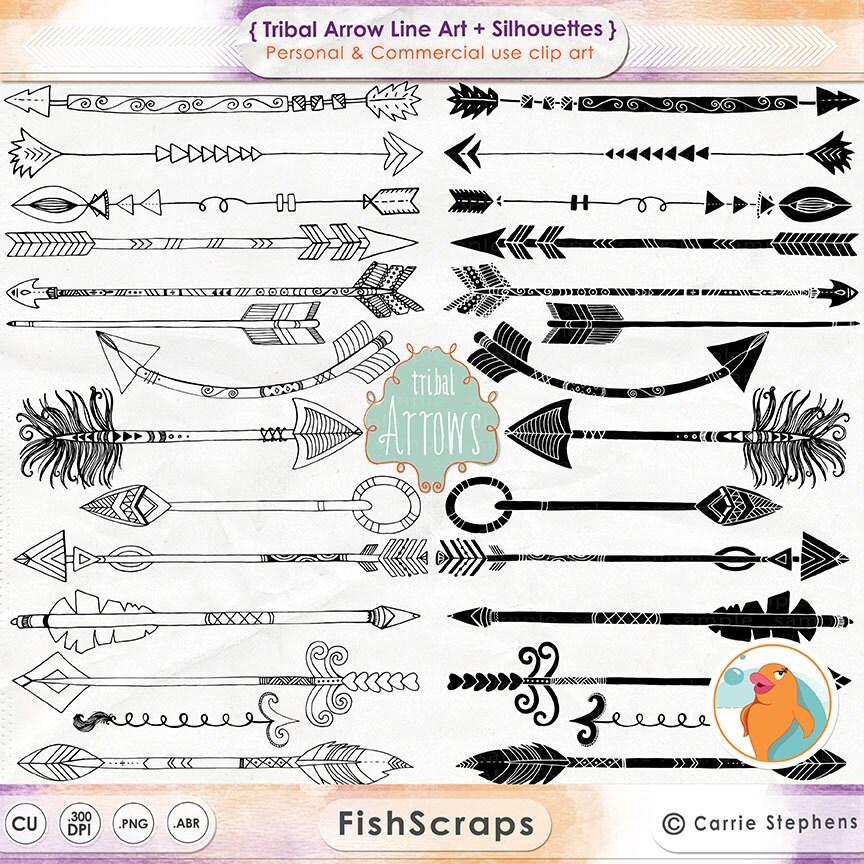 Line Art Arrow : Tribal indian arrow clipart hand drawn line by