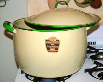 Vintage Lg Cream Green Enamelware Stew Stock Pot with Lid Original Paper Label Universal Enameled Ware