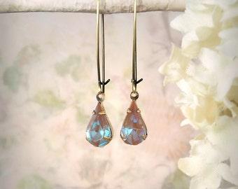 Rare Saphiret Teardrop Earrings Mauve Earrings Mint Condition Vintage Glass Jewelry Romantic Dusty Rose Opal Pink Salmon Aqua Blue Earrings