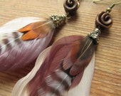 Brown Tribal Feather Earrings with Metallic Bronze Roses, Ethical Fashion, Upcycled Jewelry, Gypsy Boho Feather Earrings, Recycled Fashion