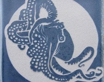 Octopus - 4x4 Etched Porcelain Tile - SRA