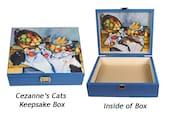 Large Keepsake Box, Paul Cezanne's Cats, Wood, Memory Box, Funny Cat, Pet Memorial,  Funny Cat Gifts, Cat Themed Gifts