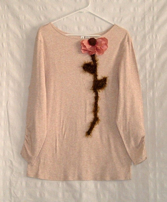 RESERVED for Alejandra Shabby Chic Embellished T-shirt Tan Heather and Dusty Rose Nature's Corsage