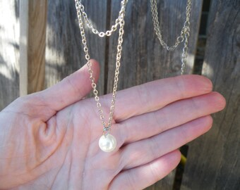 Bridesmaid Necklaces, Double Chain Pearl Necklace, Pearl Necklace, Bridesmaid Gifts